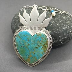 Turquoise Milagros heart
