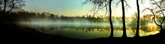 6 a.m. at the lake - saturation increased (na_photographs) Tags: morning trees lake water fog mirror see wasser nebel peaceful calm silence dmmerung ufer bume spiegelung stille friedlich ruhe ruhig morgenstimmung