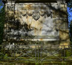 Duke Franz Friederich Anton of Saxe-Coburg-Saalfeld. - Duchess Auguste Caroline Sophie of Saxe-Coburg Saalfeld. (:Linda:) Tags: park metal fence germany bavaria town coburg coatofarms lion franconia garland mausoleum