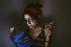 self | abril, 2016 (kassiamelo) Tags: light portrait selfportrait girl self vintage hair photography book photo shadows cigarette girlphotographer girlphotography vscofilm