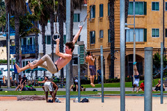 Ring Swing - Santa Monica Beach (Matthew Warner) Tags: california usa man men beach outdoors us losangeles unitedstates exercise santamonica pacificocean gymnastics santamonicabeach