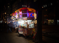 Hot Dog Cart - New York City, USA (scuzzilla) Tags: street new york city travel vacation food usa dog hot tourism night photography lights evening us nikon open bright united vendor states cart seller d600