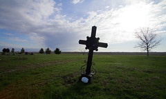 Wrought Iron Grave Marker (jpmatth) Tags: sky color cemetery grave digital canon eos lenstagged illinois iron cross cloudy blank marker mk2 5d wrought tokinaatxpro17mm35 2016 harvel prairieland