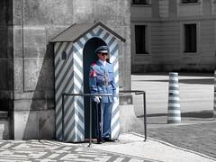 Castle Guard Prague (jann.haemers) Tags: travel blue summer castle photoshop outside costume europe prague guard praha czechrepublic hrad praag greyscale 2014 tsjechië prazsky