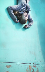 Slipping (Keiran Foster) Tags: life portrait abandoned college model surreal down slip conceptual stress understanding upside waterpark