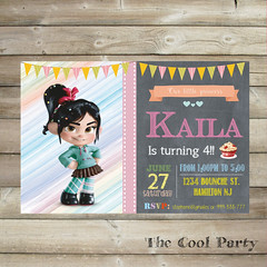 Little Vanellope birthday invitation,rompe ralph invite, card ,vanellope party printable,vanellope Birthday Invitation, first birthday (The Cool Party) Tags: birthday party paper 1st card supplies invite ralph invitations announcements printable vanellope