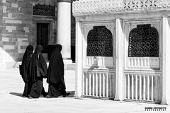 Blacks (carmine.contrafatto) Tags: people sun monochrome turkey veil muslim streetphotography istanbul mosque blacks biancoenero blackandwhitephotography moschea turchia sleymaniyecamii carsaf fotografiadistrada canon600d