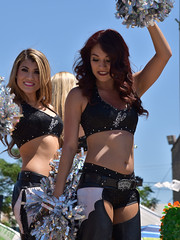 Spurs Silver Dancers (Ashley3D) Tags: flowers hot sexy sports smile leather smiling female silver outside spurs 22 pom san downtown day texas fiesta cheerleaders dancers pants bra wave sunny battle parade redhead belly blonde button april leader latino hispanic cheer cheerleader antonio waving bellybutton mid chaps drift hotpants 2016 middrift silverdancers