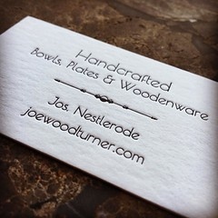 My new letterpress business cards have arrived! Love them! (nestlerode) Tags: cards businesscards printing artisan woodturning smallbusiness instagram
