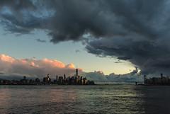 Lower Manhattan from Sinatra Drive, Hoboken (jvdalton) Tags: nyc clouds waterfront manhattan worldtradecenter nj wtc hoboken nyharbor freedomtower