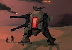 Red Eye (justin pyne) Tags: justin fiction light red eye scale digital photoshop painting grey robot big war gun tank desert character tan machine science fantasy massive cannon vehicle fi lmg sci mecha mech antiaircraft pyne postapoc droneuary