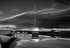 Rhyl Harbour (johnroberts676) Tags: bridge sky bw wales reflections river boats nikon harbour rhyl d800 nikon28300mm