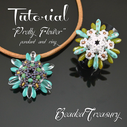 Pretty Flower - superduo bead pattern, pendant tutorial, beading tutorial, beaded ring, dagger, delica, seed beads