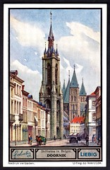 Liebig Tradecard S1330 - Doornik (Tournai) (cigcardpix) Tags: church bells vintage advertising belgium ephemera liebig tradecards