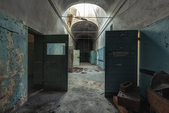 isolation of the mentally disturbed (LichtGespiele) Tags: old italien light shadow urban italy detail abandoned lines architecture hospital dark landscape dead lost death lights scary italian italia shadows darkness decay cell arches security spooky medical prison human forgotten urbanexploration infiltration lp horror block ward care left exploration derelict psychiatric ue manicomio mental decompose urbex lightray ospedale lostplace lichtgespiele