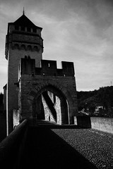 IMG_2816 (dcdnc) Tags: bridge building art water monochrome wall architecture modern stairs contrast landscape lot pont cahors