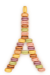 Macarons Eiffel Tower. Isolated (prolisafoto) Tags: life birthday wedding paris love coffee up yellow vintage festive french dessert still colorful close sweet chocolate pastel postcard traditional eiffeltower valentine stack retro made delicious biscuit celebrate isolated stacked macaron