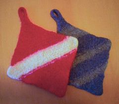 Felted potholders (Winterbound) Tags: felted knitting handmade crafts handknitted