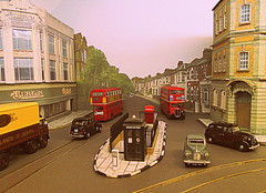 Backscene [Explored] (kingsway john) Tags: bus london scale austin layout model taxi transport tram devon tardis oo stl gauge tramway publicconvenience 176 fx3 1950sstreet