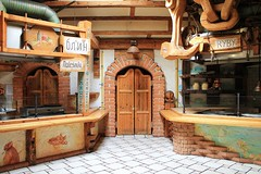Restaurant Interior of Hotel Gorski in Poland (Esther Spektor - Thanks for 10+ millions views..) Tags: door travel brick kitchen sign canon painting tile restaurant hotel wooden europe counter floor interior rustic poland estherspektor hotelgorski