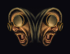 Butterflies Screams (Birdmanjag) Tags: selfportrait man male face hoodie goggles scream horror hood mirrorimage darkart weldinggoggles