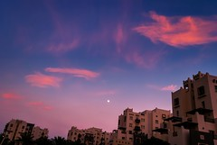when i see the moon (Fortunes2011. Season's Greeting & Peace to ALL) Tags: windows winter sky moon architecture clouds buildings evening cool outdoor terraces balconies remraam fortunes2011nikon
