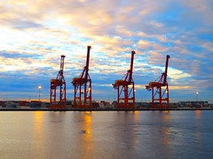 Steel giraffes (fred.tross) Tags: seascape water clouds port docks industrial steel australia cargo western giraffes fremantle containers