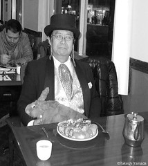 Dr. Takeshi Yamada and Seara (Coney Island sea rabbit) at the East Ocean Chinese Buffet in Brooklyn, NY on January 9, 2016. This is their favorite Chinese restaurant in New York.  20160109Sat DSCN3289=3020pC1BW. East Ocean Buffet (searabbits23) Tags: nyc ny newyork sexy celebrity art fashion animal brooklyn painting asian coneyisland japanese star tv google king artist dragon god manhattan wildlife famous gothic goth chinese performance pop taxidermy cnn tuxedo bikini portraiture tophat unitednations playboy entertainer takeshi samurai genius donaldtrump mermaid amc johnnydepp mardigras salvadordali unicorn billclinton hillaryclinton billgates aol vangogh curiosities sideshow jeffkoons globalwarming takashimurakami pablopicasso steampunk yamada damienhirst cryptozoology freakshow barackobama seara immortalized takeshiyamada museumofworldwonders roguetaxidermy searabbit ladygaga climategate