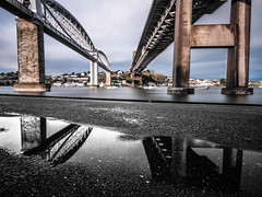 Under the bridges (NikNak Allen) Tags: longexposure bridge sky reflection brick water metal stone architecture clouds river cornwall low bridges plymouth devon tamar trainbridge saltash