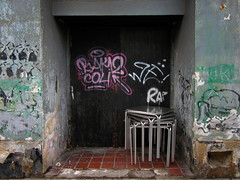 streets of cartagena (maximorgana) Tags: door pink black green abandoned wall pg derelict cartagena decayed trashbit