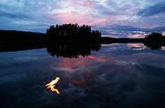 Fire water burn (braerik) Tags: lake water landscape fire flame bluehour vann skyer bltimen innsj ild femunden