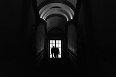 The light upstairs (carlosromonbanogon) Tags: shadow people bw white black window museum architecture stairs gallery samsung amateur ufizzi nx10