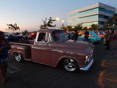 The only time there wasn't a crowd around this 57 is when it was leaving (Bob the Real Deal) Tags: truck cool pickup fresno friday rare 1957chevy rarecolor 1957chevroletpickup fridaynightcruise canyoncoral 1957chevrolet3100 hotrodsfresno rodsonthebluff hotrodcoalition