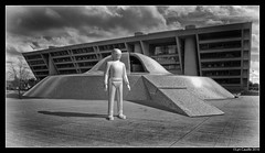 Gort in Dallas (lyncaudle) Tags: cityhall models sciencefiction forcedperspective miniture dallastx lyncaudle scifidallas