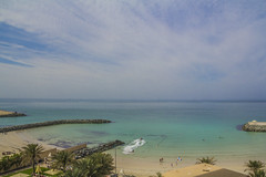 The Sea (Emi.R.) Tags: morning travel blue sea sky seascape clouds landscape hotel scenery gulf uae wide arabiangulf peacful ajman ajmanpalace