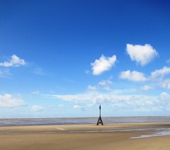 Standing allone against a big sky (White Pass1) Tags: sea sand tide coastline crosby irishsea windturbines crosbybeach seftoncoastline