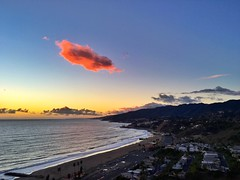 Lone Cloud Sunset ((Jessica)) Tags: ocean california sunset cloud beach mobile clouds losangeles pch santamonicamountains pacificpalisades iphone pacificcoasthighway iphone6s