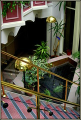 Inside (* RICHARD M) Tags: plants water fountain glass architecture stairs palms lights pond interiors steps staircase bannisters lamps ferns brass interiordesign shrubs southport merseyside lampshades sefton heskethpark thechesters