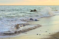 Meditacin (waltgire) Tags: sunset sea espaa sun beach atardecer mar andaluca spain nikon wave playa granada grenade olas marzo colorkey 2016 nikond3200 d3200