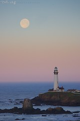 Pearl over Pigeon Point (Della Huff Photography) Tags: california moon lighthouse coast pacific fullmoon moonset sanmateo pigeonpoint
