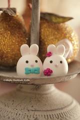 Bunny and Rabbit wedding cake topper (charles fukuyama) Tags: wedding cute conejo egg custom lapin weddingceremony cakedecoration  weddingcaketopper claydoll handmadecaketopper animalscaketopper rabbitcaketopper mochiegg