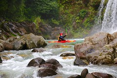 Tawhai  Falls, intrepid athletes enjoy extreme kayaking (Psychic Insights) Tags: newzealand summer sky water sport creek landscape flow waterfall nationalpark jumping outdoor kayaking extremesports