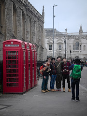 phoneboxes (Sam Turner) Tags: uk cambridge telephone tourists kingscollege marketplace 2016 telephoneboxes olympusep1 utata:project=peopleandphones