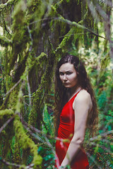 In the Forest with the Spiders (Alyssa Mort) Tags: california trees red portrait woman green nature girl forest dark moss surreal ferns sureal alyssamort
