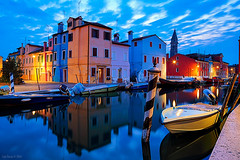 The leaning Tower (Tedz Duran) Tags: old travel blue venice houses urban italy water architecture night rural buildings river boats island photography dawn lights canal twilight fishing italia flood painted nostalgia hour alta acqua venezia burano tedzduran ngtuk