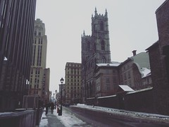 Cold Day in Montreal (` Toshio ') Tags: street city winter people snow canada architecture montreal canadian notredame sidewalk oldtown iphone placedarmes toshio notredamedemontreal