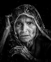 India Varanasi (mokyphotography) Tags: portrait people bw woman india face blackwhite donna bn persone varanasi ritratto bianconero viso