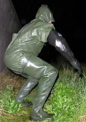 Wet mud explorer in the dark (essex_mud_explorer) Tags: wet mud boots delta rubber gloves raining muddy waders rainwear gummistiefel gauntlets cuissardes bibandbraces lechameau