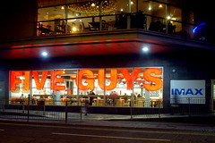 Five Guys, Kingston upon Thames (Tony Worrall Foto) Tags: road county street city uk greatbritain england people urban food london english lights cafe stream tour open place candid south country capital visit location tourist southern kingston burgers area lit southeast enter eats update imax attraction foodie fiveguys