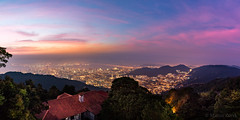Penang Hill Sunrise (FAM Martin Z) Tags: morning bridge pink blue light sky panorama cloud mountain color detail green nature colors yellow clouds zeiss dark landscape warm darkness pano hill illumination malaysia humidity penanghill humid distagon pulaupinang my canon5dsr 5dsr distagont15ze